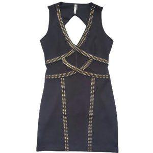 Avee Womens Gold Accent V-Neck Black Bodycon Dress